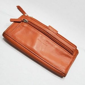 Vintage Fossil Snap Orange Leather Fossil Wallet